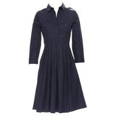 BURBERRY navy blue cotton pleated skirt safari detail casual dress IT36 XS