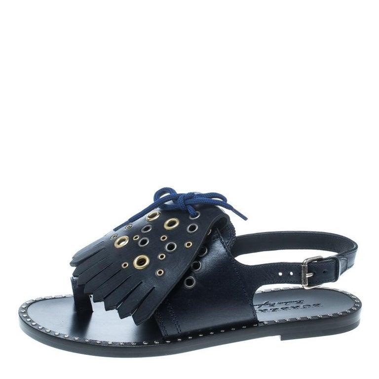 344b3ef8776a2 Burberry Navy Blue Leather Kiltie Fringe Eyelet Detail Flat Sandals ...
