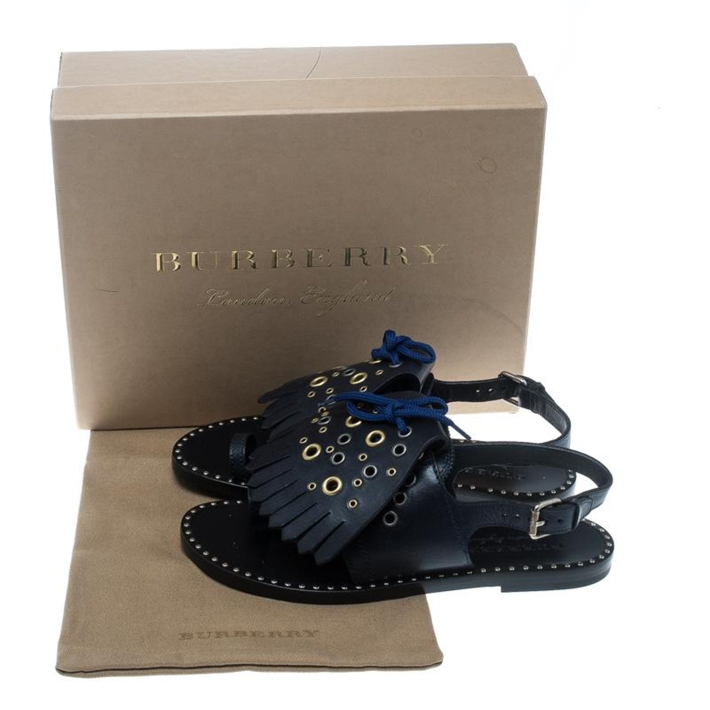 d352266c32cd Burberry Navy Blue Leather Kiltie Fringe Eyelet Detail Flat Sandals Size 38  For Sale at 1stdibs