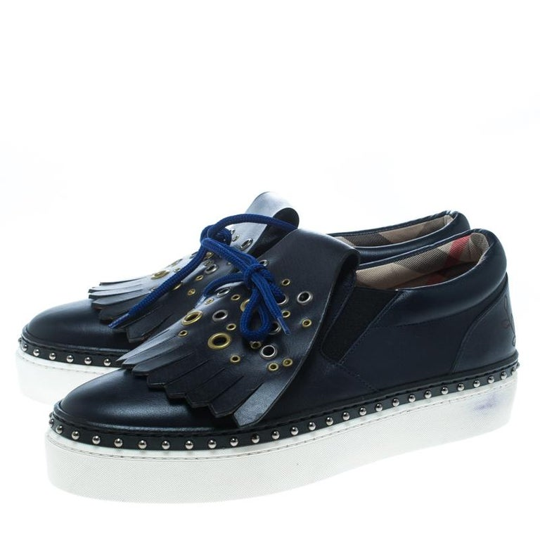 7132909b94c Burberry Navy Blue Leather Kiltie Fringe Slip On Sneakers Size 38 In New  Condition For Sale