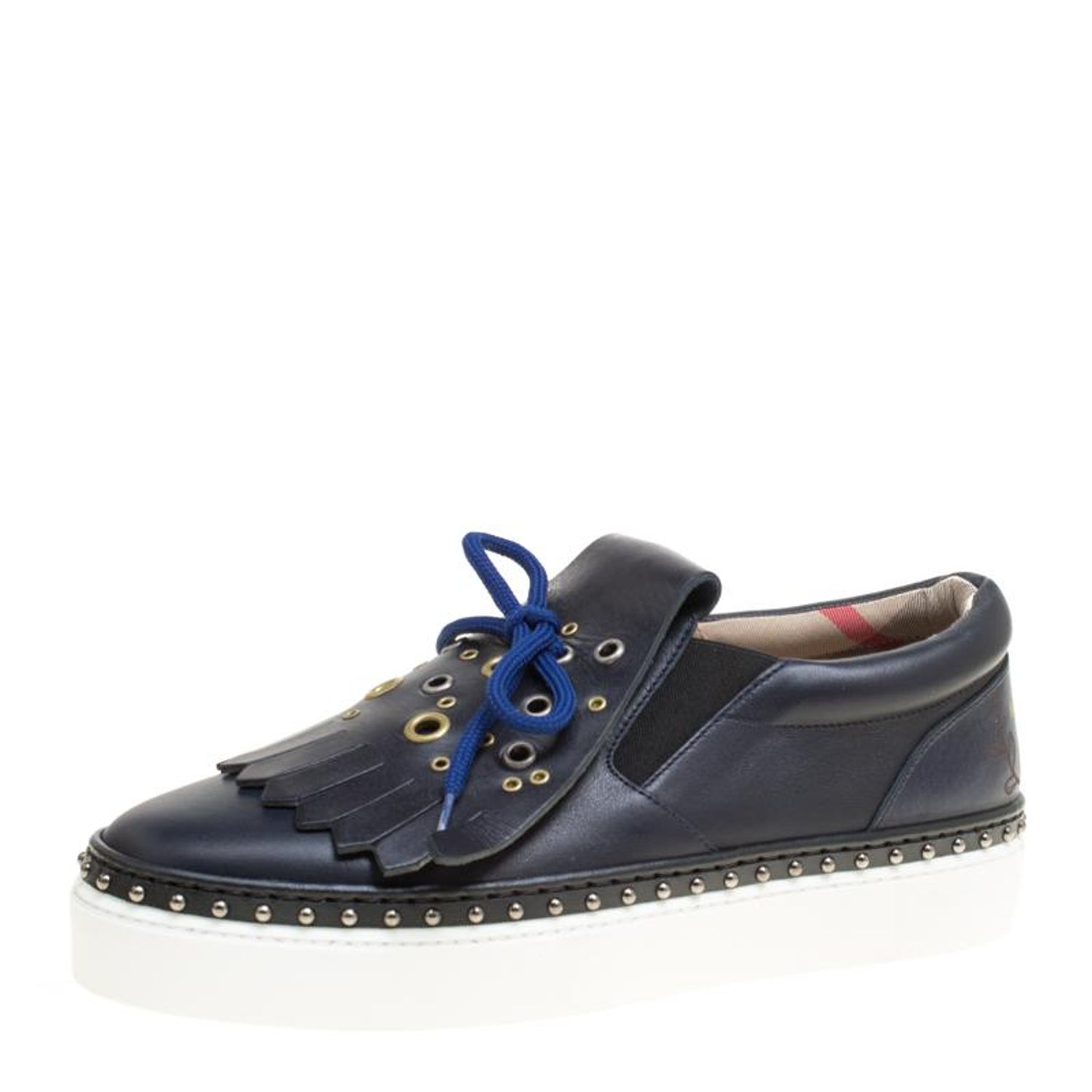 9c265ca0876 Burberry Navy Blue Leather Kiltie Fringe Slip On Sneakers Size 38.5 For Sale  at 1stdibs