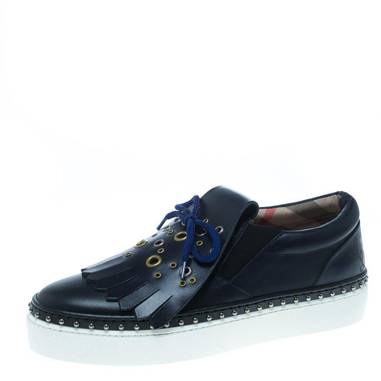 bf2c36417ad Burberry Navy Blue Leather Kiltie Fringe Slip On Sneakers Size 39 For Sale