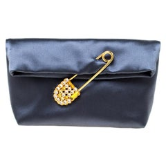 Burberry Navy Blue Satin Crystal Embellished Pin Clutch