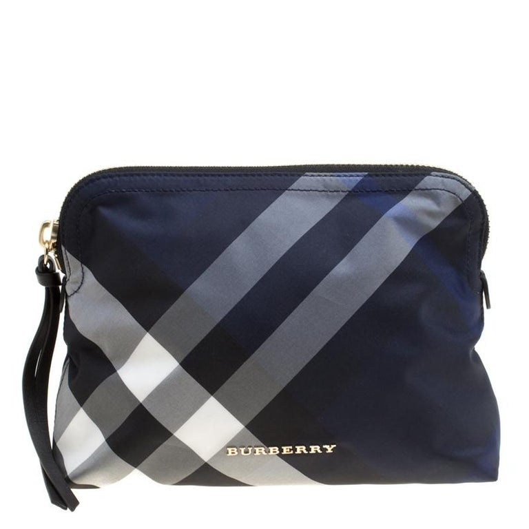Burberry Navy Blue Smoked Check Nylon Large Pouch at 1stdibs 453c2ffde4104