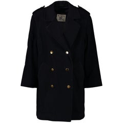Burberry Navy Blue Wool Coat - Size 38