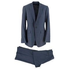 Burberry Navy Striped Two-Piece Wool Single Breasted Suit - Size L EU 50