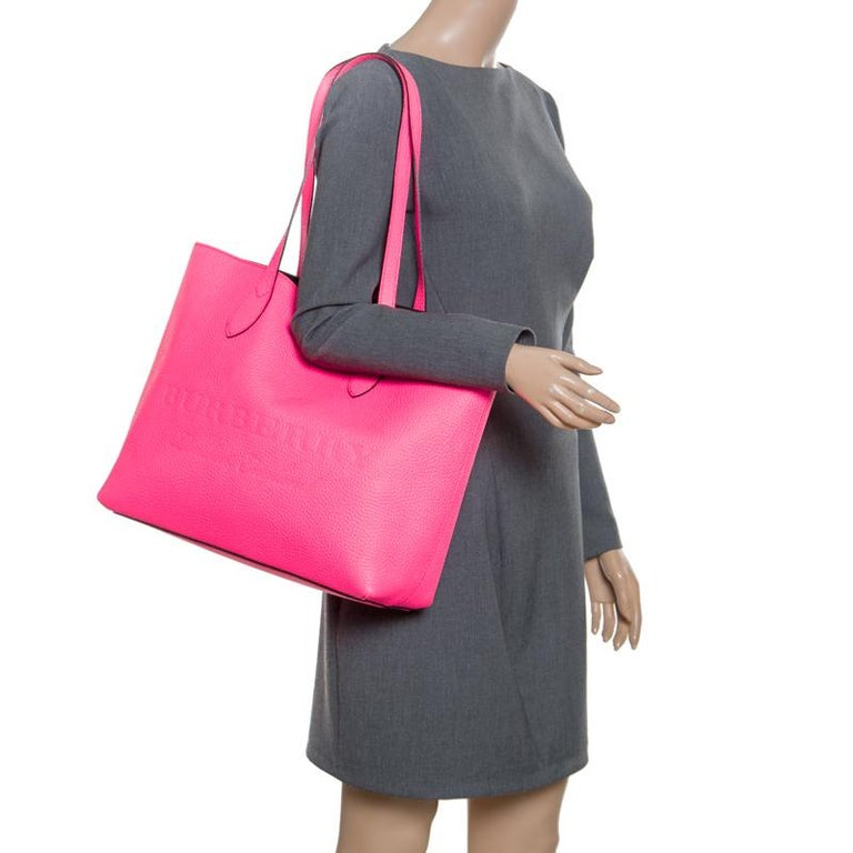 7683025543fc Burberry Neon Pink Leather Remington Shopper Tote In New Condition For Sale  In Dubai