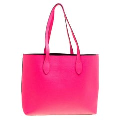 Burberry Neon Pink Leather Remington Shopper Tote
