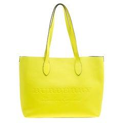 Burberry Neon Yellow Leather Remington Shopper Tote