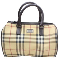 Burberry Nova Check Boston 869898 Beige Coated Canvas Satchel