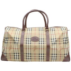 Burberry Nova Check Boston Duffle 870058 Beige Canvas Weekend/Travel Bag