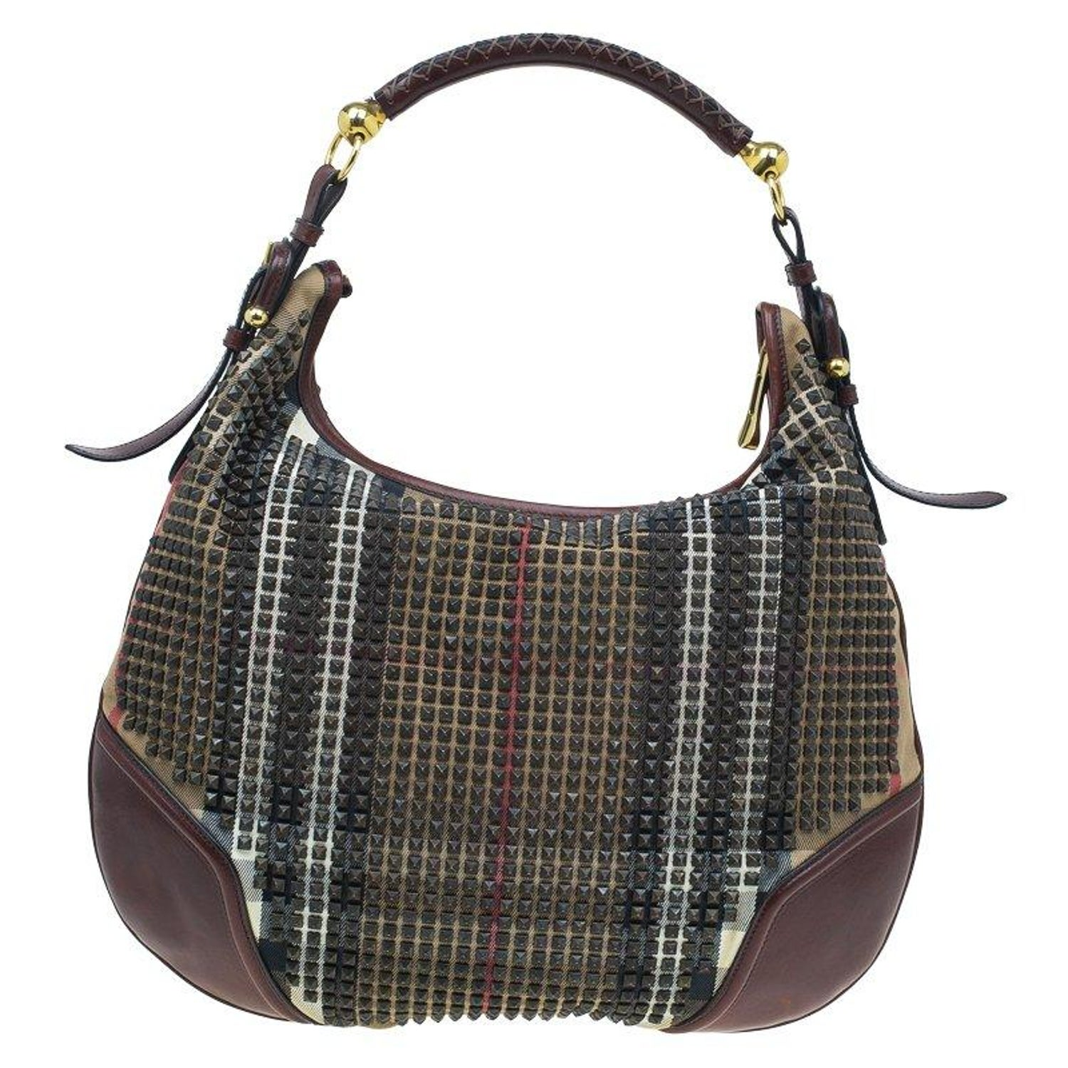 ed0ff5fd629 Burberry Nova Check Canvas and Leather Studded Hoxton Hobo For Sale at  1stdibs