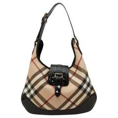 Burberry Nova Check Patent Leather Trimmed Hobo Bag