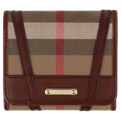 BURBERRY Nova Check Tartan Leather Trifold Square Compact Wallet