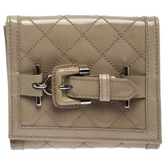 Burberry Off White Patent Leather Compact Wallet
