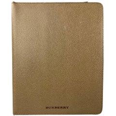BURBERRY Olive Pebble Grain Leather iPad Case
