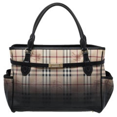 Burberry Ombre Brown Haymarket Check PVC and Leather Liberton Tote