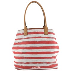 Burberry Open Tote Striped Canvas Medium