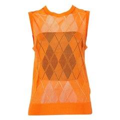 Burberry Orange Argyle Pattern Pointelle Knit Sleeveless Vest M