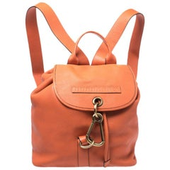 Burberry Orange Leather Hook Flap Backpack