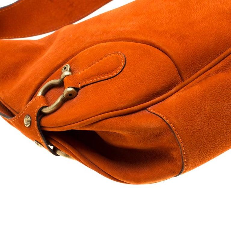 Burberry Orange Nubuck Leather Hobo For Sale 5