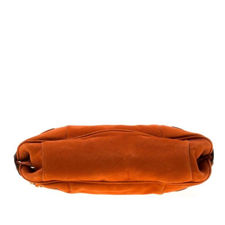 Burberry Orange Nubuck Leather Hobo For Sale 6