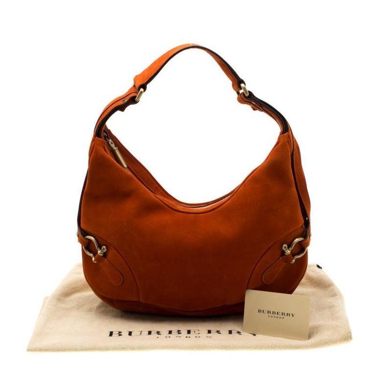 Burberry Orange Nubuck Leather Hobo For Sale 7