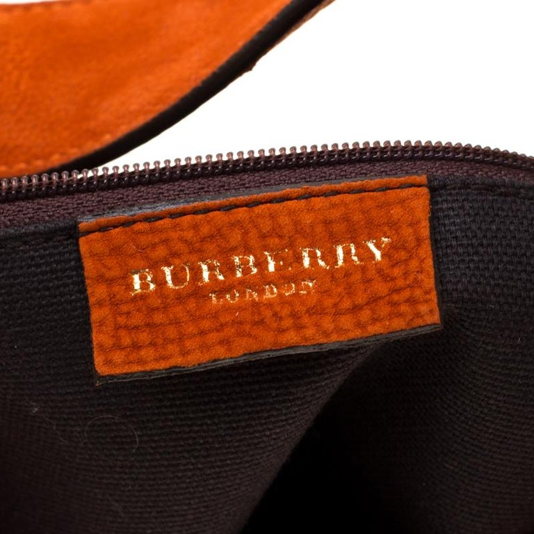 Burberry Orange Nubuck Leather Hobo For Sale 1