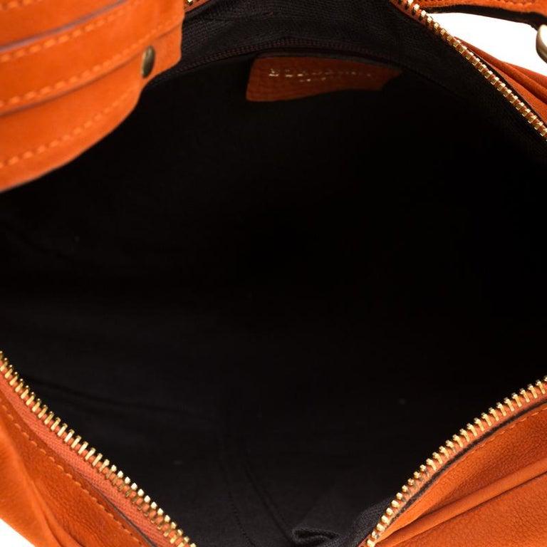 Burberry Orange Nubuck Leather Hobo For Sale 2