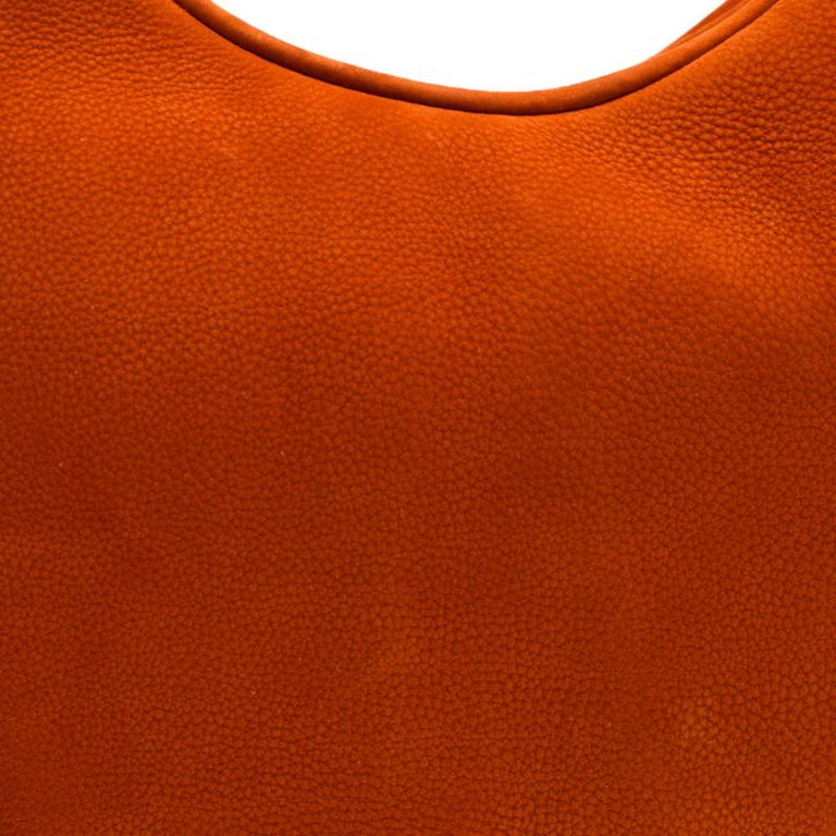 Burberry Orange Nubuck Leather Hobo For Sale 3