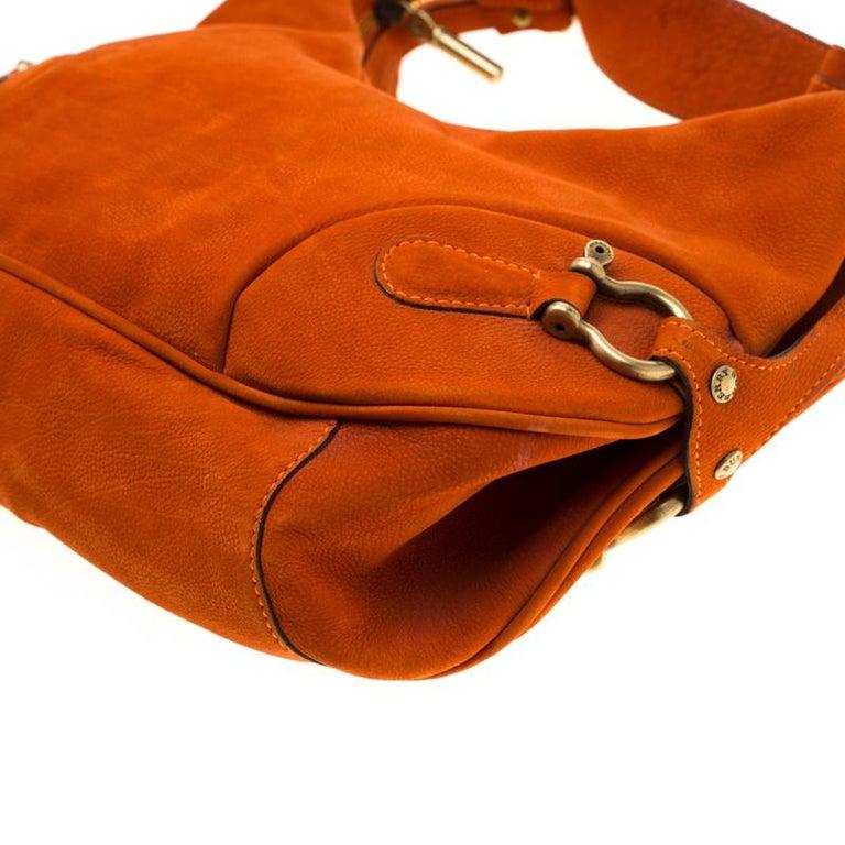 Burberry Orange Nubuck Leather Hobo For Sale 4