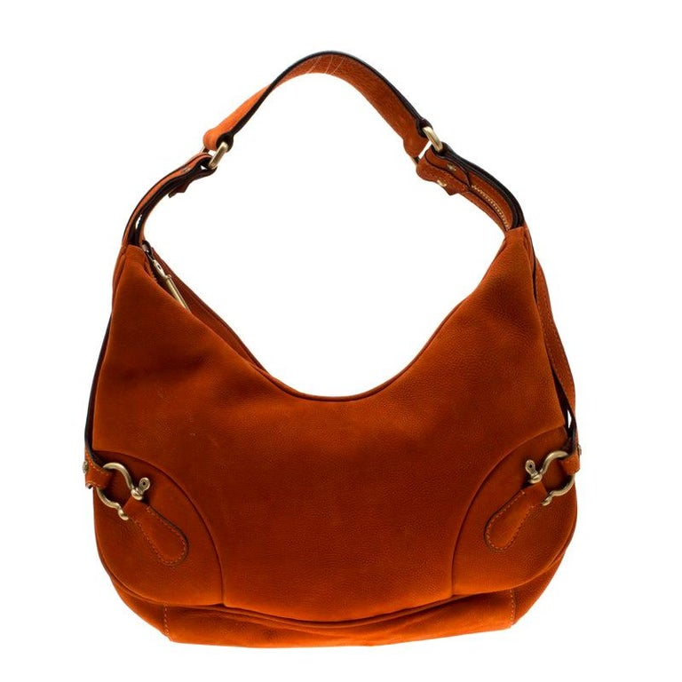 Burberry Orange Nubuck Leather Hobo For Sale