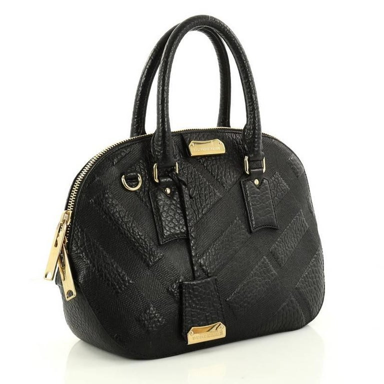 6819a37196d8 Black Burberry Orchard Bag Embossed Check Leather Small For Sale