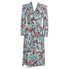 Burberry Pale Blue Printed Silk Long Sleeve Wrap Dress M