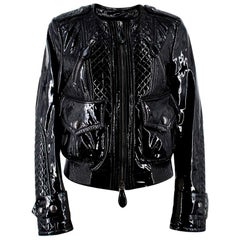 Burberry Patent Leather Quilted Bomber Jacket US 6