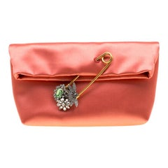 Burberry Peach Satin Crystal Embellished Pin Clutch