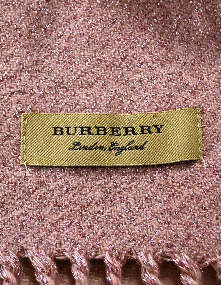 Beige Burberry Pink/Black Plaid & Glitter Cashmere Blend Scarf