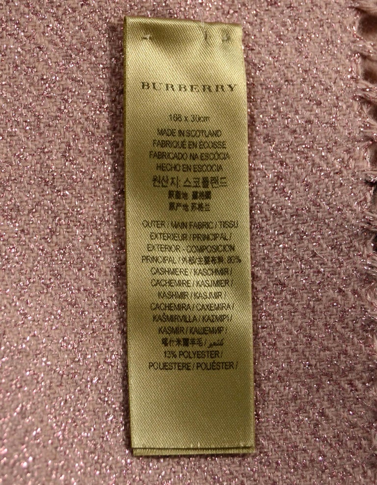 Burberry Pink/Black Plaid & Glitter Cashmere Blend Scarf In Good Condition In New York, NY