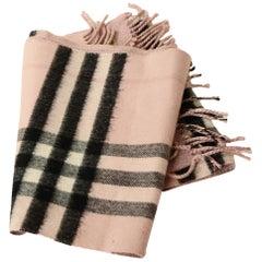 Burberry Pink/Black Plaid & Glitter Cashmere Blend Scarf