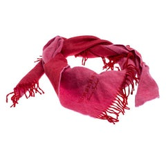 Burberry Pink Cashmere Fringe Trimmed Triangle Scarf