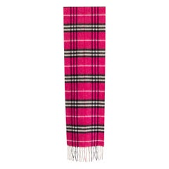 BURBERRY pink cashmere TARTAN CHECK Shawl Scarf