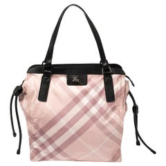 Burberry Pink Check Nylon and Leather Buckleigh Tote