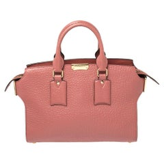 Burberry Pink Grained Leather Medium Clifton Tote
