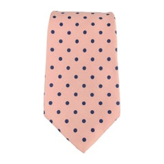 BURBERRY Pink & Navy Polka Dot Silk Tie