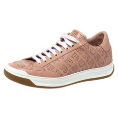Burberry Pink Perforated Check Leather Westford Low Top Sneakers Size 38.5