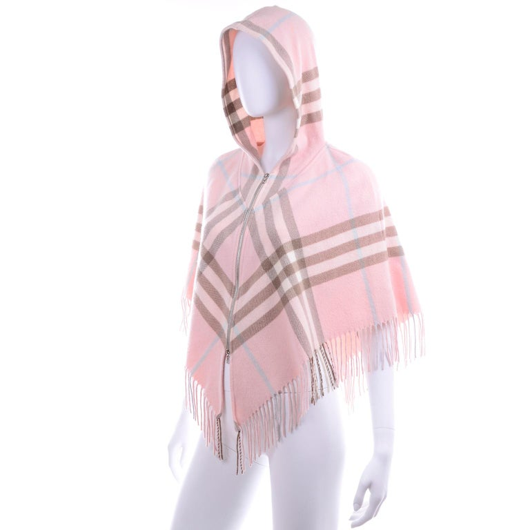 Burberry Pink Plaid Poncho in Cashmere & Wool with Hood In Good Condition For Sale In Portland, OR
