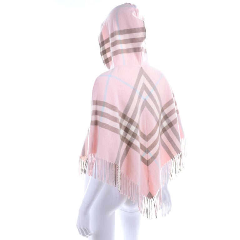 Women's Burberry Pink Plaid Poncho in Cashmere & Wool with Hood For Sale