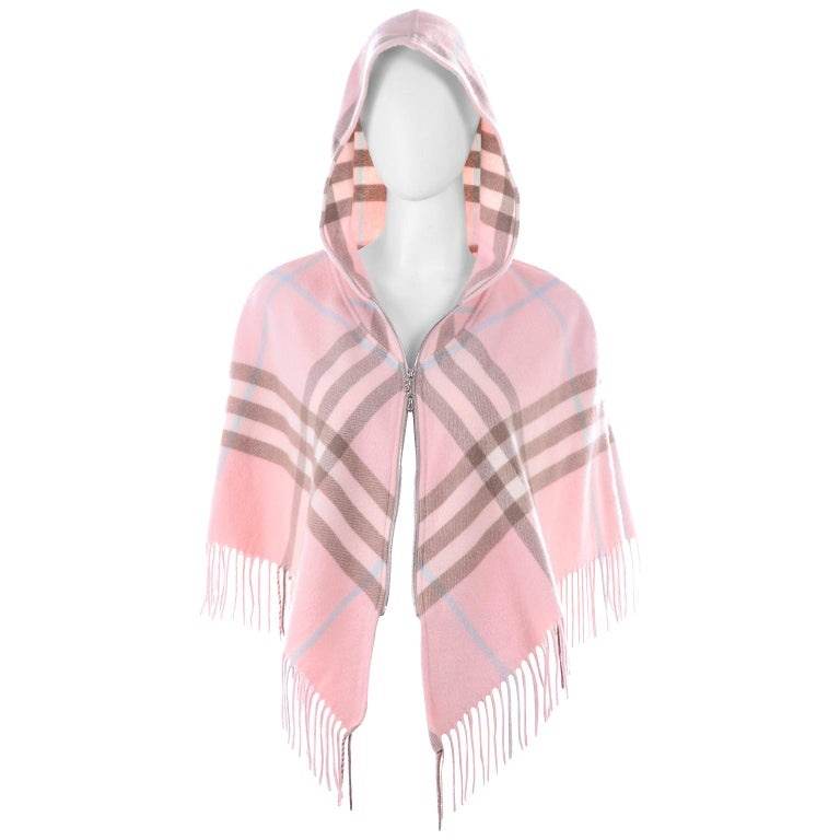 Burberry Pink Plaid Poncho in Cashmere & Wool with Hood For Sale