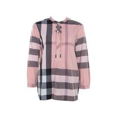 Burberry Pink Plastron Cotton Button Front Blouse M