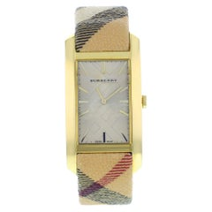Burberry Pioner Silver Rectangle Dial Gold Tone Steel Quartz Ladies Watch BU9407